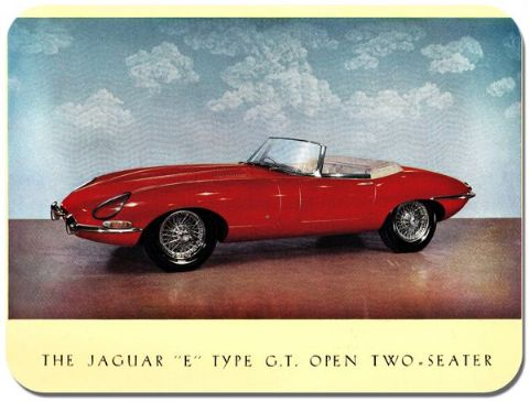 Jaguar E Type GT Open Two Seater Poster Mouse Mat. Classic Car Mouse pad